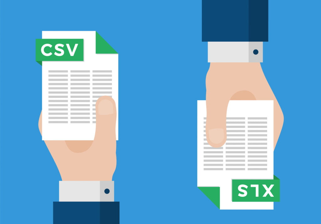 The difference between CSV and XLS formats
