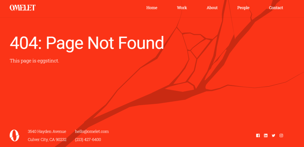 Example of a good Error 404 page: Omelet