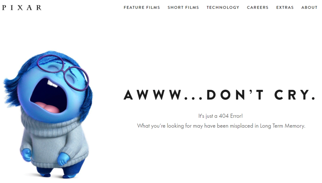Example of a good Error 404 page: Pixar