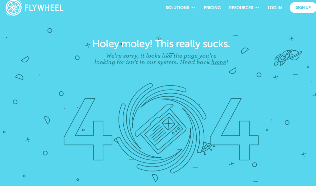 Example of a good Error 404 page: Flywheel