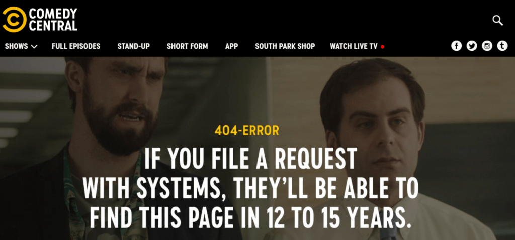 Example of a good Error 404 page: Comedy Central