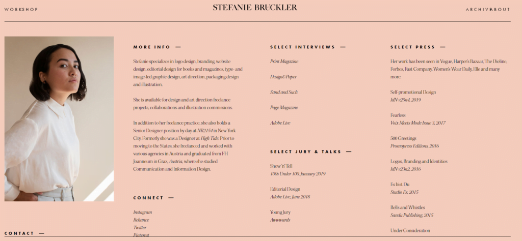 Stefanie Buckler specializes in editorial design and branding