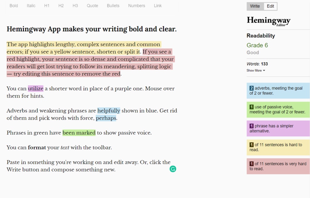 The Hemingway app is a great tool for wordsmiths