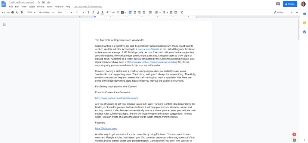 Edit documents online with Google Docs