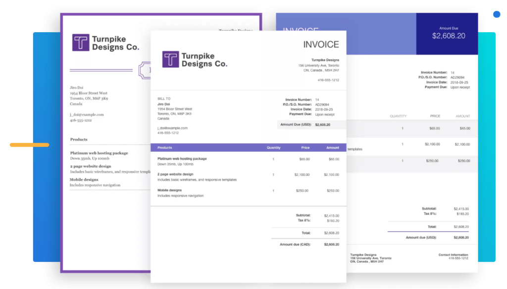 Wave provides a free generic invoice