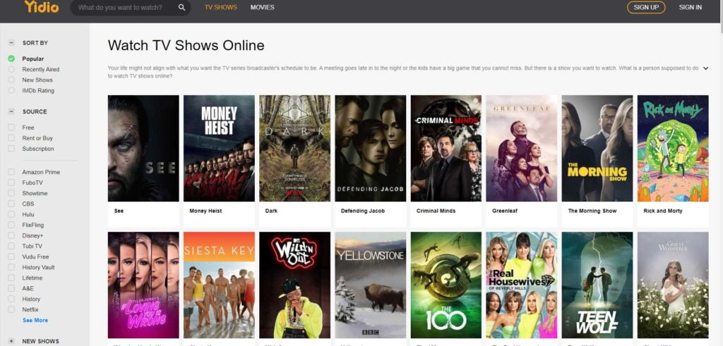 Yidio allows you to watch TV shows online for free