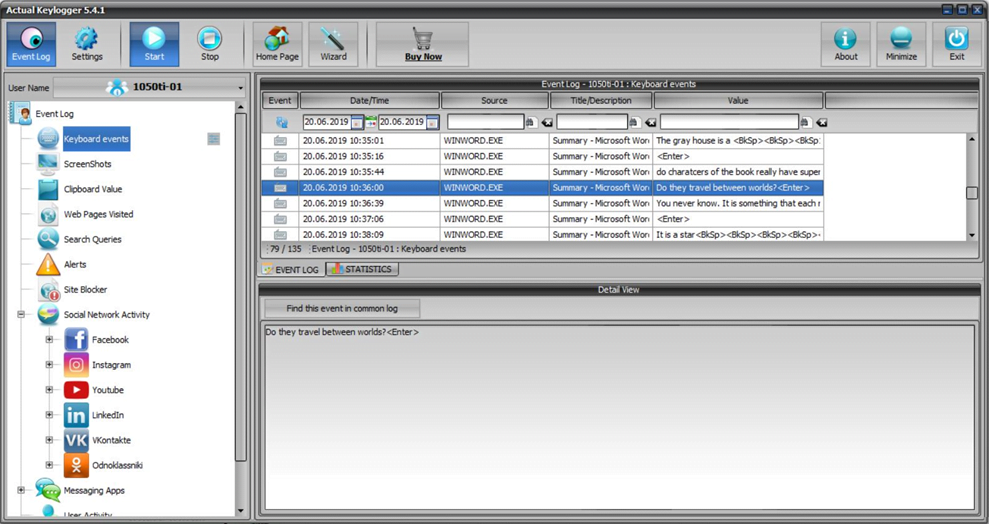 Actual Keylogger - Free Keyloggers for Employee Monitoring