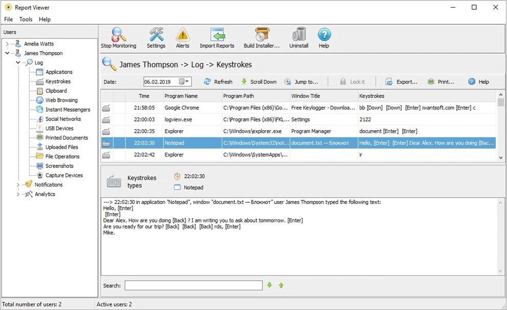 Iwantsoft  - Free Keyloggers for Employee Monitoring