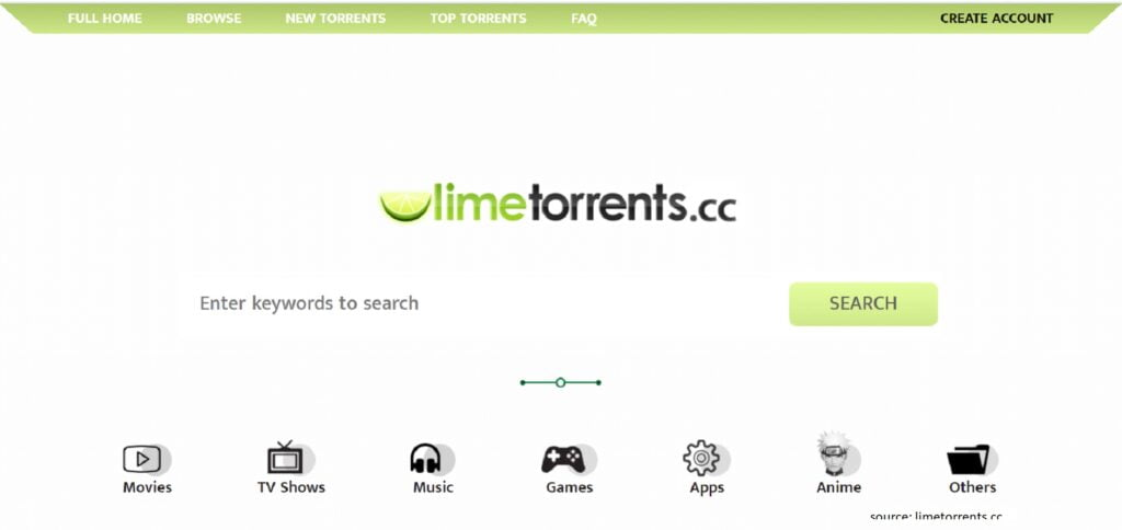 Limetorrents - Best Unknown Torrent Sites