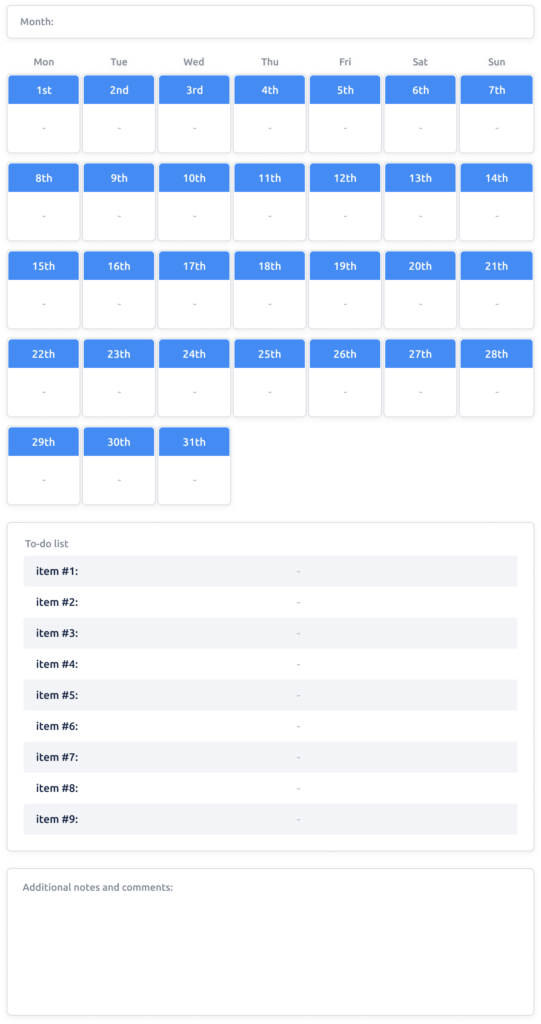 Monthly Planner Template with 1-Day Intervals