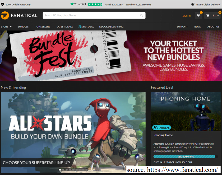 screenshot of Fanatical website