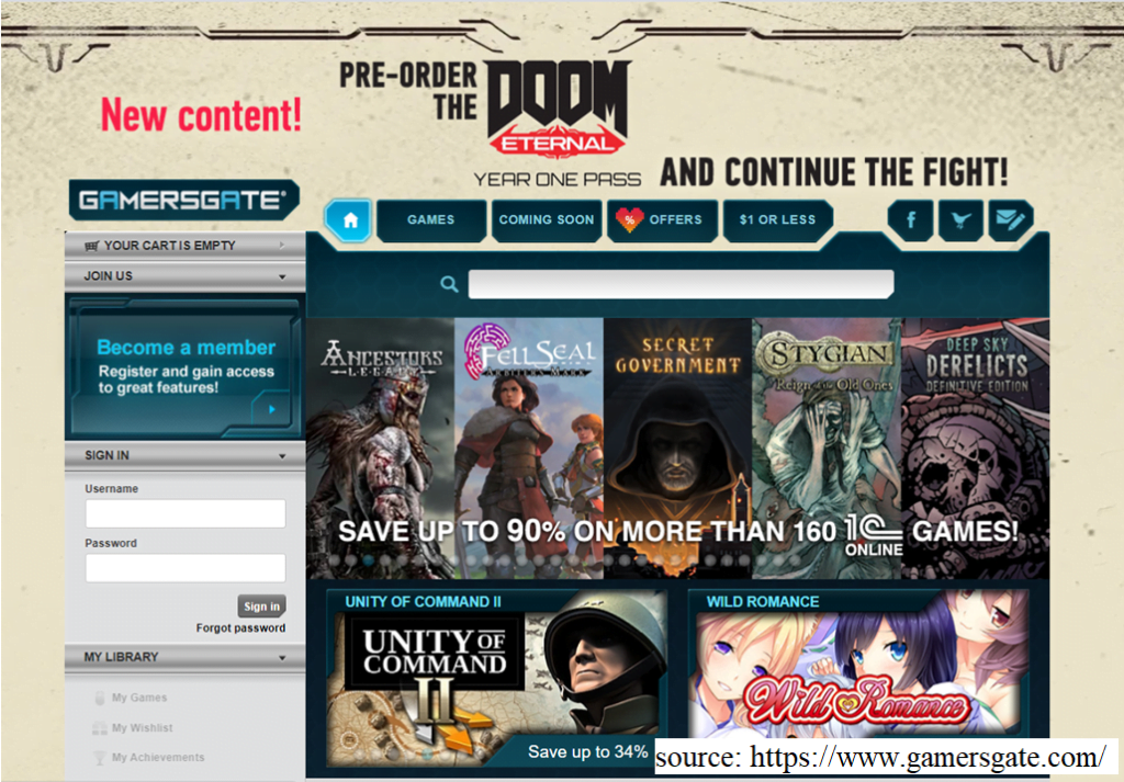 screenshot of GamersGate website