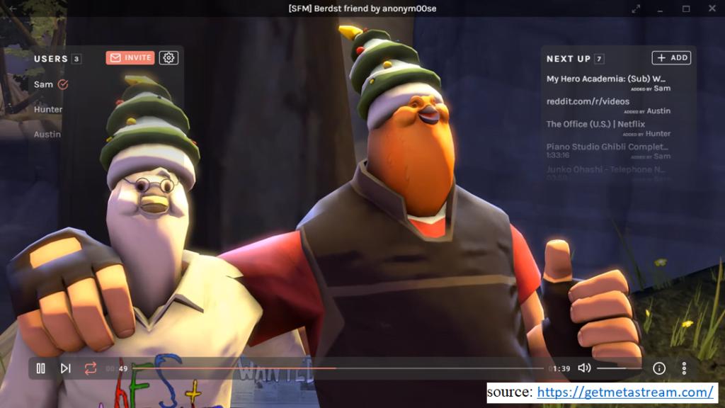 screenshot of website Metastream