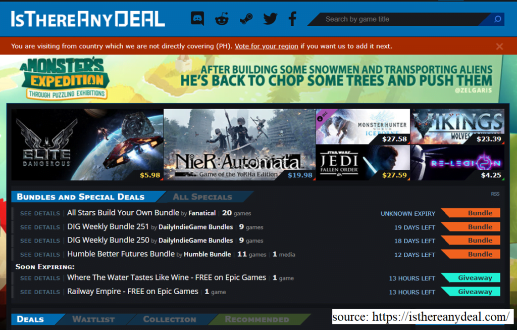 screenshot of Is There Any Deal website