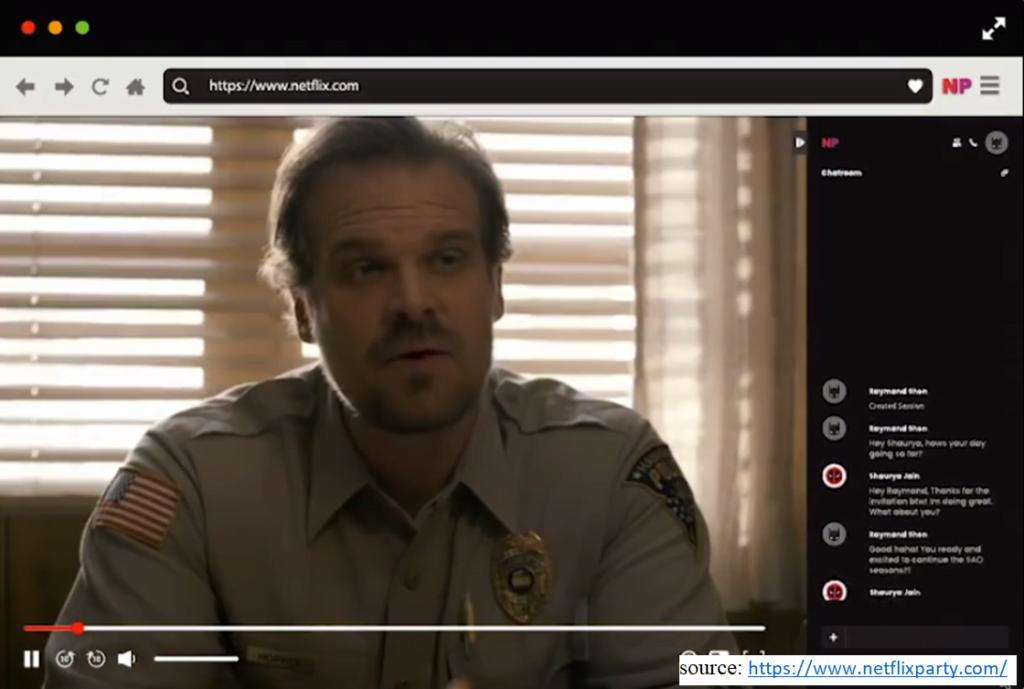 screenshot of website Netflix Party