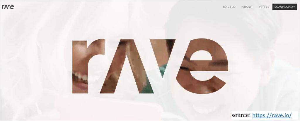 screenshot of website Rave