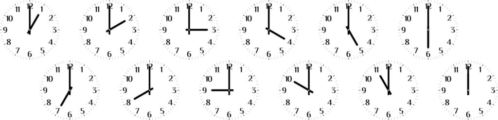 clocks that set to a different time