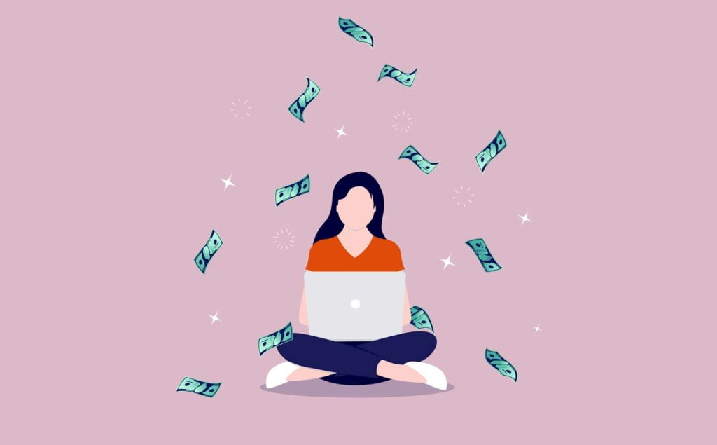 freelance girl with laptop and money