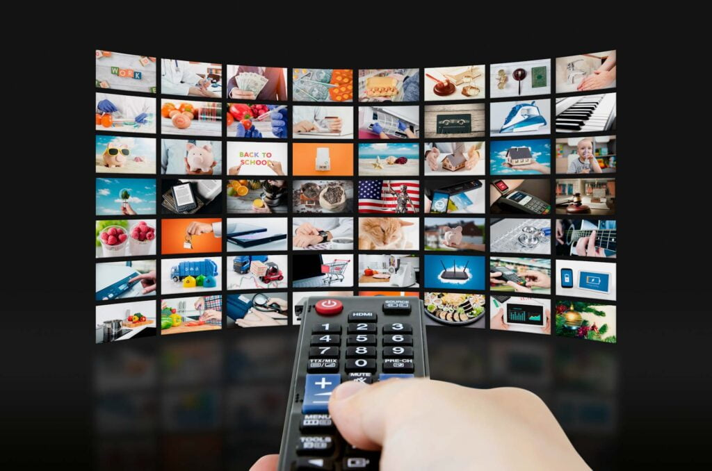 many screens and remote control