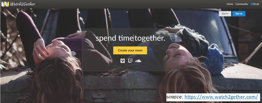 screenshot of website Watch2gether