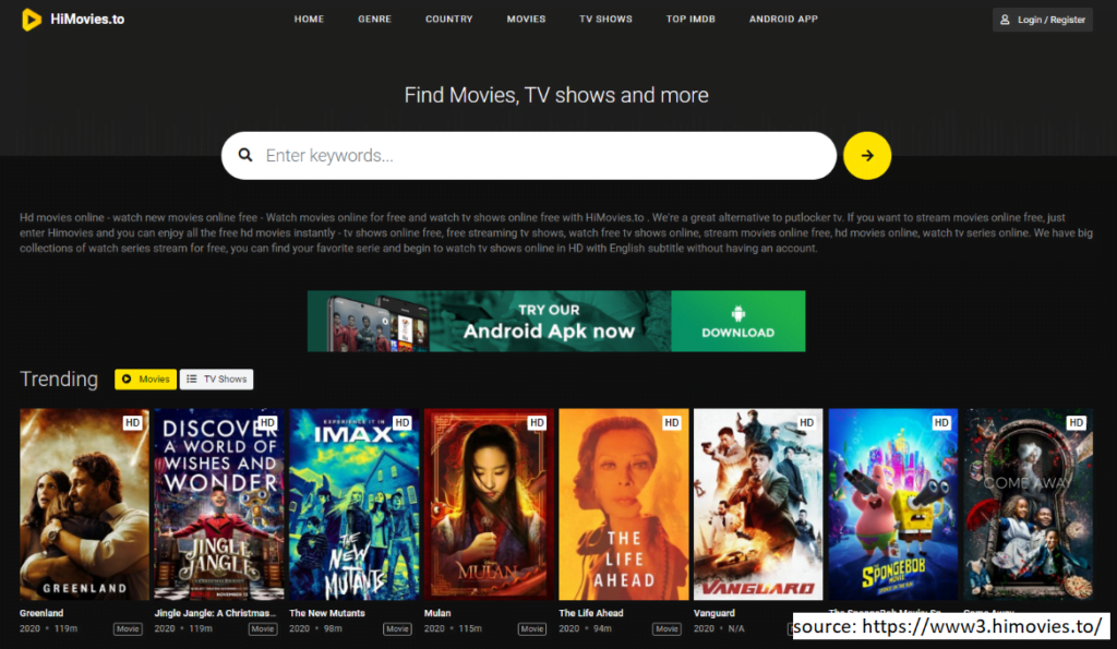 HiMovies allows you to watch TV shows online for free