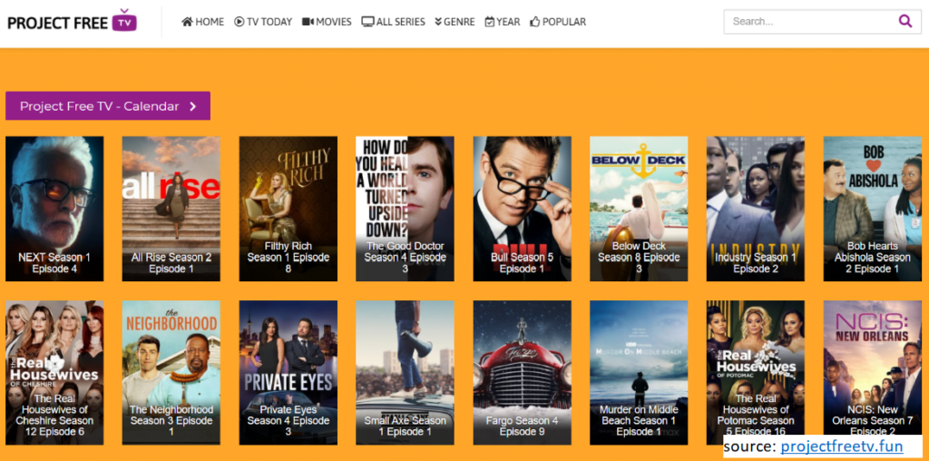 Project Free TV allows you to watch TV shows online for free