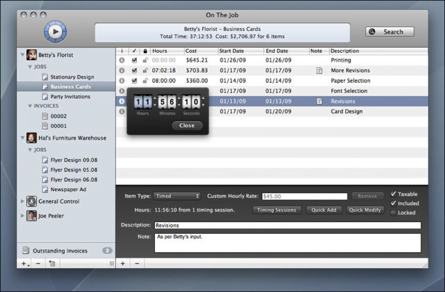 On the Job - Time Trackers for Mac