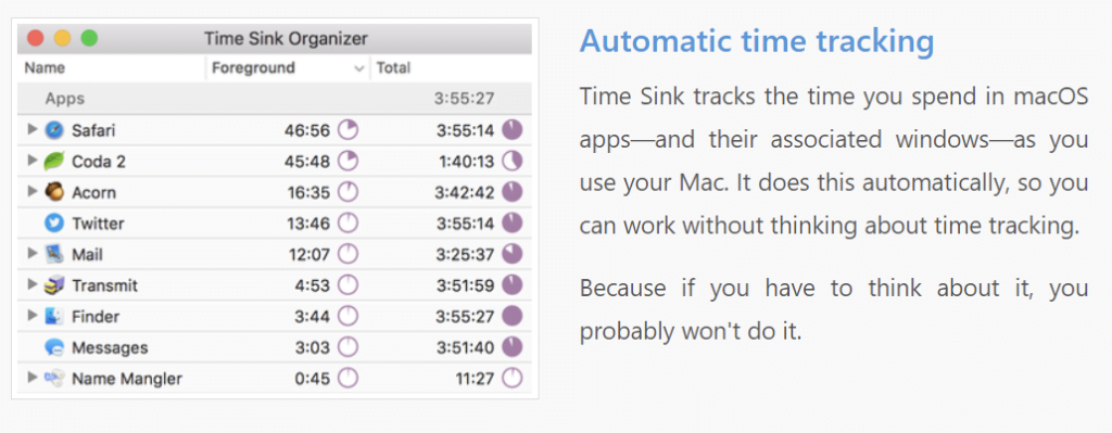 Time Sink - Time Trackers for Mac