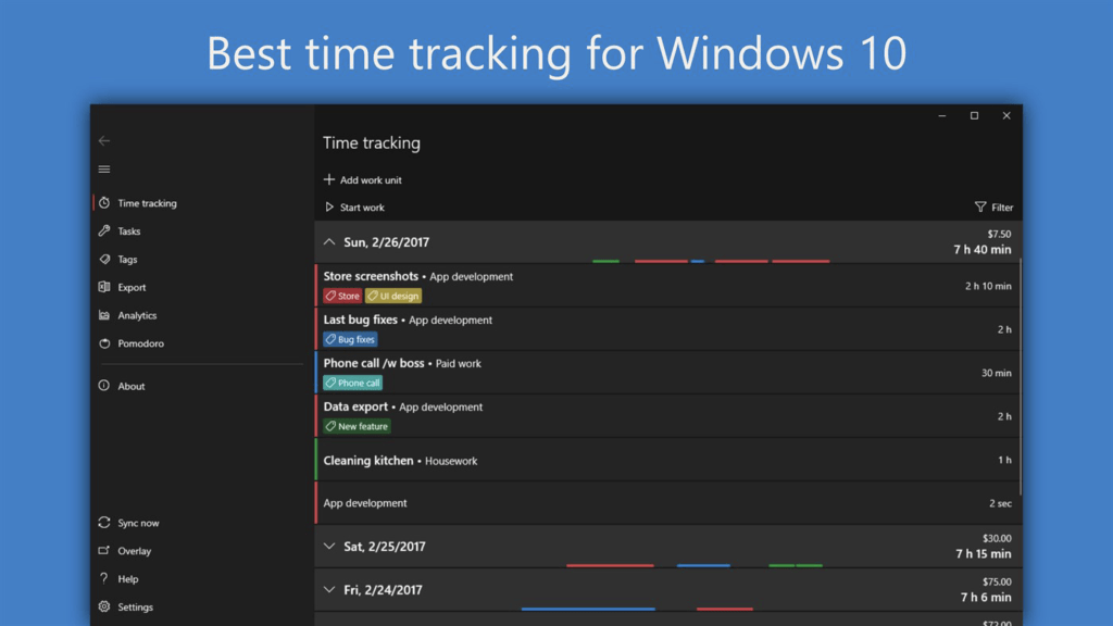 WorkingHours - time tracker for Windows
