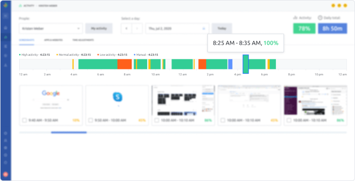 Working hours log - Timelines