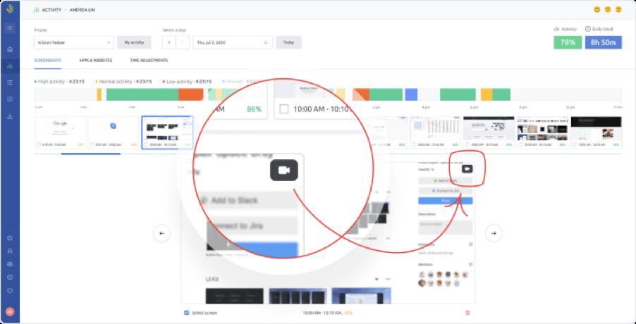 Blurred Screenshots - Work Hours Tracker